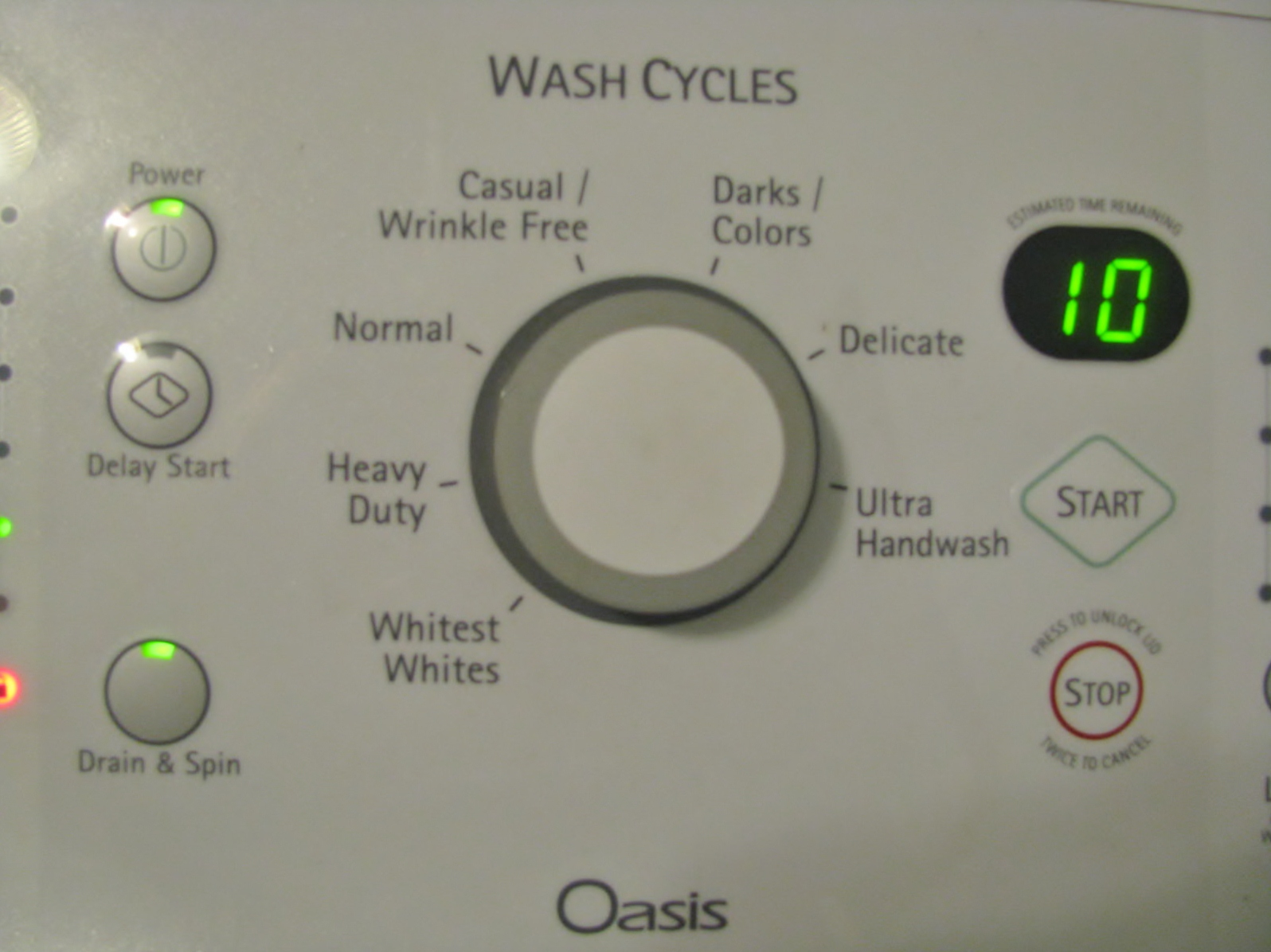 Kenmore Elite Washer Reset Button
